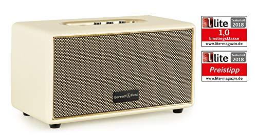 Bennett & Ross BB-860CW Blackmore - Retro Bluetooth Lautsprecher in Lederoptik - Vintage Speaker mit 2X 30W Leistung - USB-Eingang mit MP3-Player - 3,5mm Klinke Aux-Anschluss - Creme-Weiß