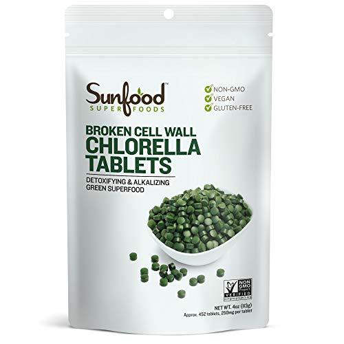 Sunfood Chlorella Tablets- Broken Cell Wall. Non-GMO. 100% Pure. No Fillers, Additives, Preservatives. 250mg Chlorella per Tablet. 4 oz Bag