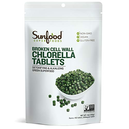 Sunfood Superfoods Chlorella Tablets | Broken Cell Wall | Pure, Single Ingredient Product | Ultra Clean- No Additives, Fillers, Preservatives, Chemicals | 250 mg Chlorella Tablets | 450 Count | 4 oz