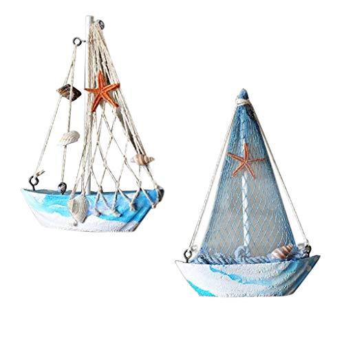 Amuzocity 2pcs Modelo de Barco de Barco de Red de Pesca de Velero de Madera de Estilo Marítimo