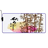VINISATH Table Mat,Bamboo Ink Painting for Korean Chuseok,LED Large RGB Waterproof Gaming Mouse Pad Non-Slip Base Luminous Protector Table Mat for Gaming, PC, Laptop, Office,Home 35.4x15.7 Inches