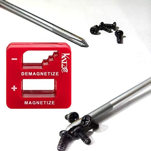 Katzco Präzisions-Demagnetizer/Magnetisierer – für Schraubendreher, kleine und große Schrauben, Bohrer, Bohrer, Stecknüsse, Schrauben, Nägel und Bauwerkzeuge, Rot