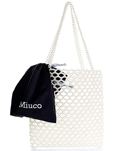 Miuco Tote Bag For Women Handmade Weave Pearl Handbag Wedding Party Shiny Beaded Bag Purse with inner pouch Cream
