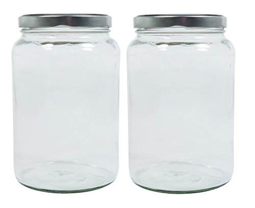 mikken Einmachglas 2er Set 1,7 Liter mit Schraubverschluss, Vorratsglas, Glasdose inkl. Beschriftungsetiketten (Silber)