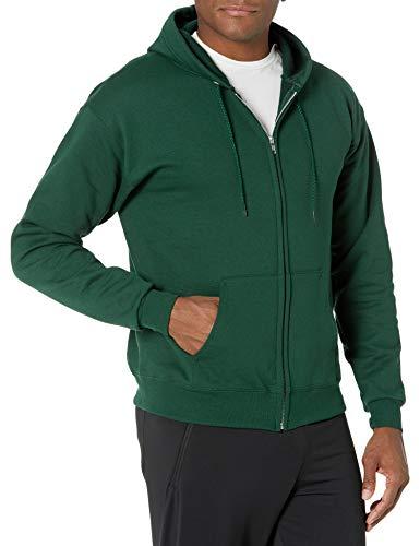Hanes Men's Full-Zip Eco-Smart Fleece Hoodie, Deep Forest, Large