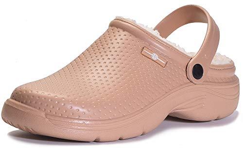 Women Men Garden Shoes Lined Clogs Waterproof House Slippers Fluffy Faux Fur Plush Lining Indoor Outdoor Mules Anti-Skid Sole Khaki -  Gaatpot, 2316KH43