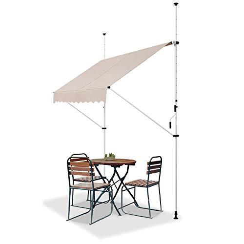 ArtLife Klemmmarkise Kuwait 350 x 120 cm – höhenverstellbar - Markise mit Handkurbel - ohne Bohren - Balkonmarkise Sonnenschutz Balkon - Beige