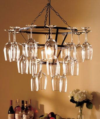 HANGING 25 WINE GLASS CHANDELIER - This Unique Style Is Perfect For Party!