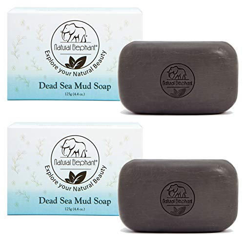 Dead Sea Mud Soap 8.8 oz (2 units - 4.4 oz bars) All Natural Face Body Cleanser by Natural Elephant