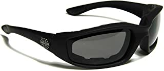Mens Biker Padded Motorcycle Goggles Glasses - Several Lens Colors Available!
