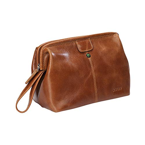 Toiletry Bag Hanging, Travel Organizer, Shower Dopp kit, for Men and Women in Full Grain Leather, from AULIV (Tan)