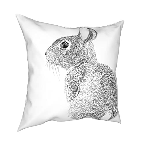 Throw Pillowcase Kissenbezüge 45x45CM Osterhasen Vektor Tinte Zeichnung Dekoration für Home Decor Office Sofa Holiday Bar Kaffee Hochzeit Auto