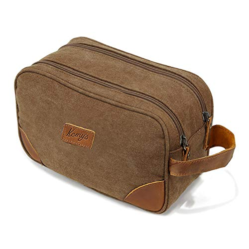Kemy's Mens Bathroom Travel Bag Toiletry Grooming Shaving Bags for Men Vintage Canvas Hygiene Double Zipper Toiletries Dob Dopp Kits Womens Cosmetic Bag Brown Large Easter Gifts