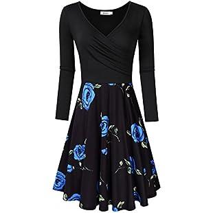 MISSKY Women's 3/4 Sleeve Floral Print Dinner Dress (Black Blue Flower, M):Kumagai-yutaka