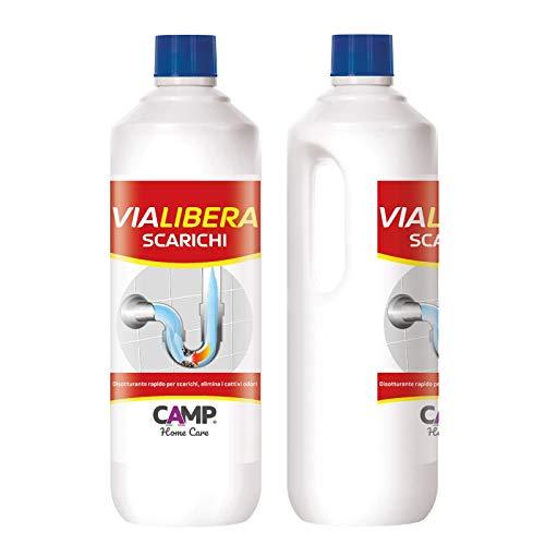 Camp VIA LIBERA, Disotturante igienizzante per scarichi domestici di lavandini, docce e wc, Elimina gli odori, Agisce in pochi minuti