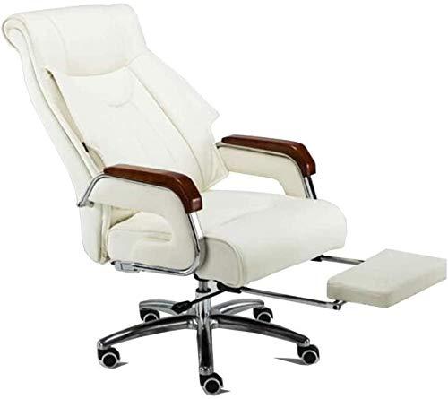 Recliner Office Life Executive Recline Faux Leather Chair, rozkładany fotel z wysokim oparciem Obrotowe biurko komputerowe Study Chowany podnóżek Fotel Wyściełane krzesło biurowe (kolor: biały) (kolor