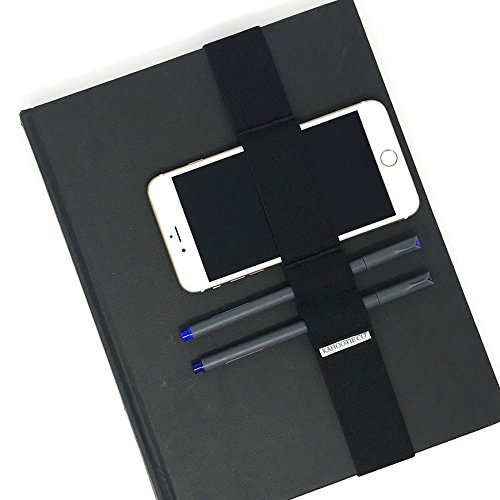 """Black Premium Elastic Band Pen Holders for Notebook, Journal or Planner- 2 Pen/Pencil Loops and 1 Cell Phone Loop, 1 1/2 inch Wide Thick Premium Elastic. (Black Large (9x11.5""""))"""