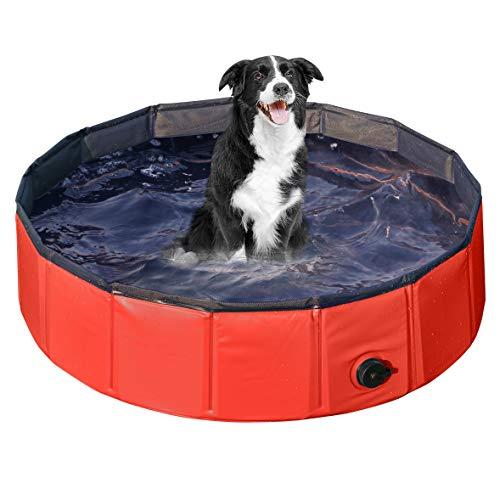 Yaheetech Hundepool, Swimmingpool, Planschbecken, Hundebadewanne, Faltbarer Pool, Badewanne Wasserbecken für Hunde 120 x 30 cm