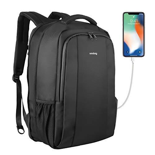 Uoobag Mochila portátil de negocios Delgado Contra robo computadora de viaje mochilas Bolsa portátil ecológico a prueba de agua para Hombres/Mujeres Con Puerto de carga USB 17 pulgadas Negro