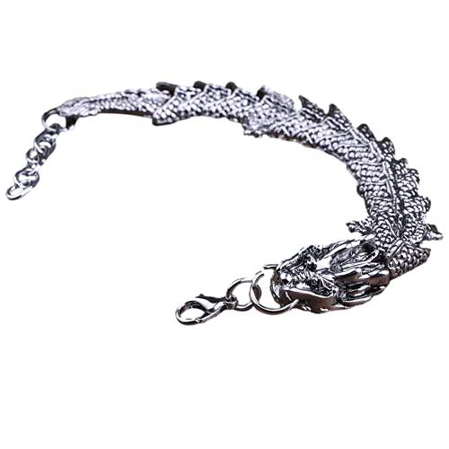 Pulseras para hombres, pulsera de hombre dominante, estilo de dragón chino retro, material de aleación, puede servir como un regalo de novio, padre