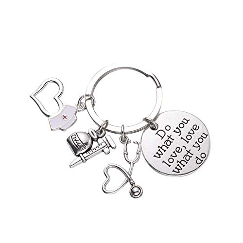 Amosfun Metal Nurse Keychain Creative Syringe Stethoscope Nurse Preceptor Keyring Pendant Ornaments Nurses Appreciation Gift