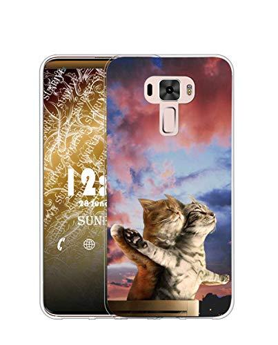 Sunrive Kompatibel mit Asus Zenfone 3 ZE552KL Hülle Silikon, Transparent Handyhülle Schutzhülle Etui Hülle (TPU Katze 5)+Gratis Universal Eingabestift MEHRWEG