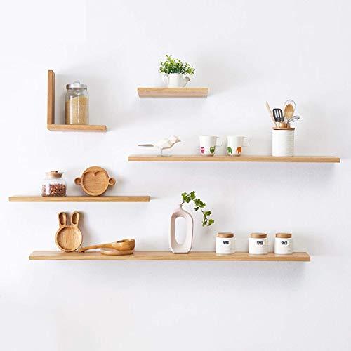 Estantería de pared de madera maciza, para dormitorio, cocina, sala de estar, libros, varios colores, para instalar en la pared, color amarillo, 600 x 150 x 20 mm, 1 unidad