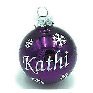 Weihnachtskugel mit Name aus Glas 6cm Wunschtext Lila Glänzend