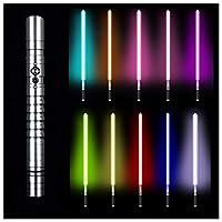 フォースFXライトセーバー11色RGBライトセーバー、ジェダイシスヘビーデュエルLEDライトセーバー、メタルアルミニウムヒルト、USB充電フォースライトセーバーグローイングサウンド,銀,39.37in