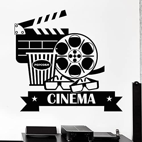 HGFDHG Calcomanías de Pared de Cine Cine Palomitas de maíz fotografía decoración de Interiores Vinilo Pegatinas para Puertas y Ventanas Gafas Arte murales creativos