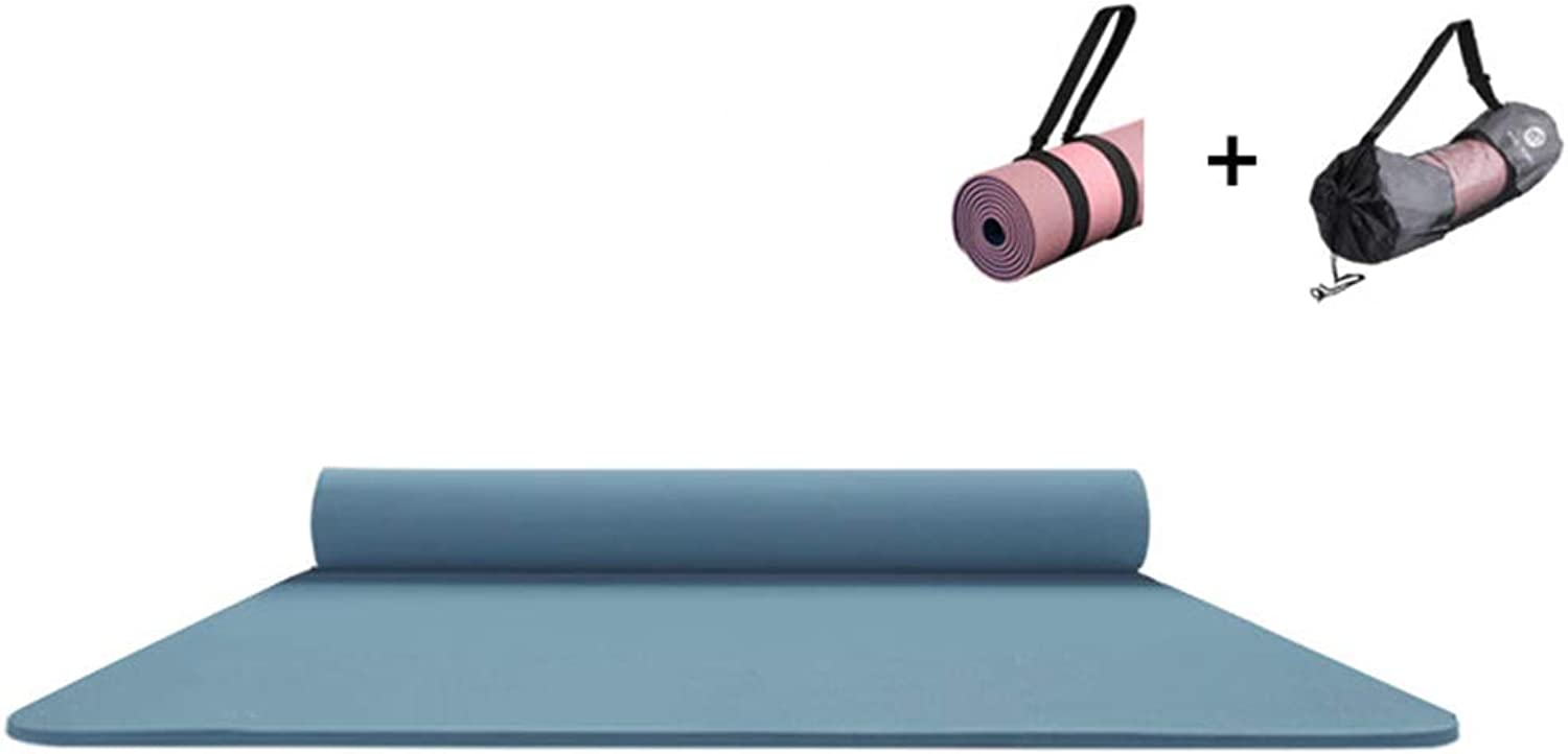 Large Padded Yoga Mat with Carry Handle for Pilates, NonslipNonToxic Sports Mat ThreePiece Suit (color   blueee, Size   6mm)