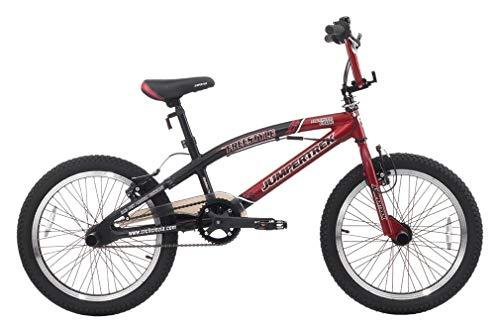 CINZIA - Bicicleta BMX Freestyle Rock Boy de aluminio rojo y negro