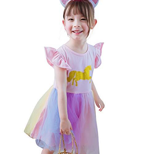 Lito Angels Baby Mädchen Einhorn Dress Up Kostüm Baumwolle Freizeitkleidung Geburtstagsfeier Regenbogen Pastell Tüll Sommerkleider Größe Größe 18-24 Monate Pink