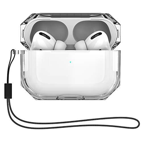 AirPods Pro ケース airpods充電ケース 透明 TPUカバー 防塵&耐衝撃性 前面のLEDライトが隠れない ワイヤレス充電対応 (ホワイト)