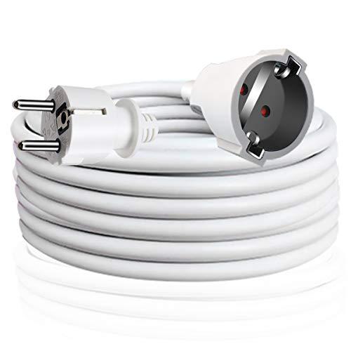 EXTRASTAR Cable Extensible con PROTECCIÓN, Cable Extensible electrico 5 Metros 230V / 16A / máx. 3680W Blanco