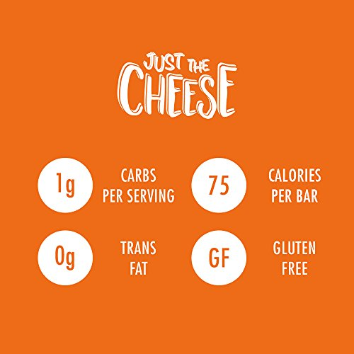 Just the Cheese Bars, Crunchy Baked Low Carb Snack Bars. 100% Natural Cheese. High Protein and Gluten Free (Aged Cheddar, 10-Pack)