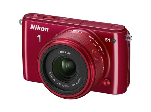 Nikon 1 S1 Systemkamera (10 Megapixel, 7,6 cm (3 Zoll) LCD-Display, Full HD) Kit inkl. 1 Nikkor 11-27,5 mm Objektiv rot