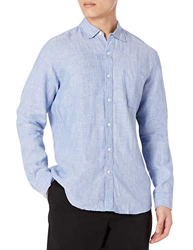 Amazon Essentials Long-Sleeve Linen Shirt Camisa, Azul (Blue), Small