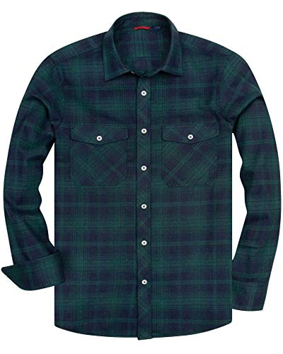 Alimens & Gentle Men's Button Down Regular Fit Long Sleeve Plaid Flannel Casual Shirts - Color: Green&Navy, Size: XX-Large