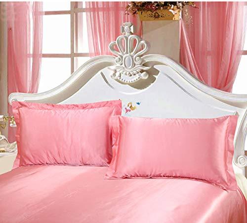 シルク枕カバー,ピロケース43×63CM,サテン封筒式2枚,ピンク(枕は含まれていません)