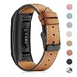 Mornex Correa de Cuero Genuino Compatible Fitbit Charge 3, Correa Ajustable Correas de Recambio Pulseras Pulsera Banda de Actividad Física con Conectores de Metal