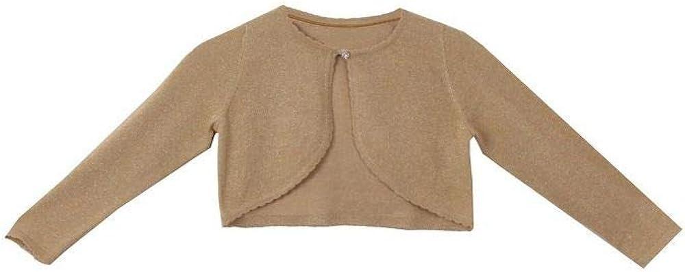 BluNight Collection Little Girls Long Sleeve Metallic Shiny Flower Girls Knit Cotton Bolero Sweater