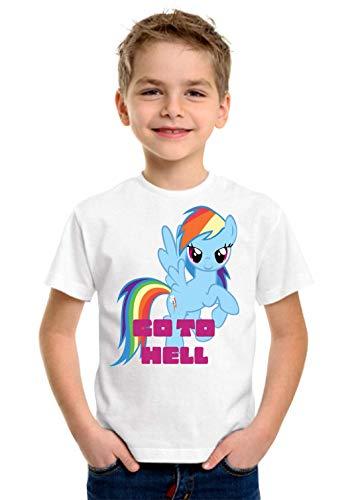 Go to Hell Rainbow Dash My Little Pony Art Kinder Unisex T-Shirt 5-13 Ages White Medium