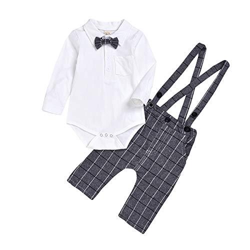 puseky baby jongens heren pak strik Tie Romper Suspender geruite broek overalls outfits set