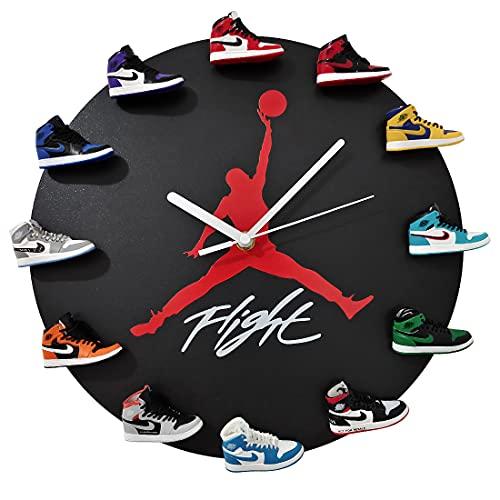 JoonieHouse 時計 3Dミニスニーカー付き 装飾的スニーカーヘッドスタイル壁掛け時計 キッズフレンズ ブラック レトロ 1