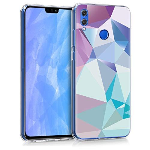 kwmobile Coque Compatible avec Honor 8X - Étui de Protection en Silicone - Prisme en 3D Bleu Clair-Rose Clair-Bleu