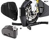 Set SM8 Wheel Chock EasyPlus + Alarm Brake Disc Lock + Motorcycle Cover XXXL