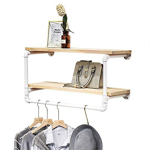 DGDG - Estante flotante de pared para tubos industriales con barra de ropa, decoración de pared, estante para ropa para el hogar, color blanco (tamaño: 80 x 28 x 41 cm)