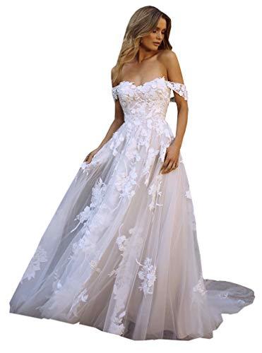 DMYG Hochzeitskleid Boho Beach Lang Spitze Appliques Off The Shoulder Tüll Prinzessin Brautkleider Elfenbein 34