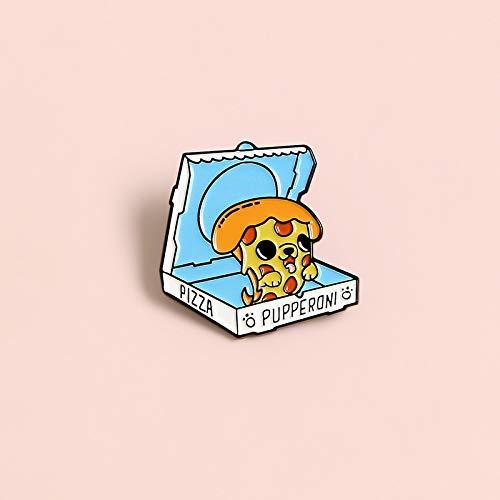 ZSCZQ Cartoon Pizza Box Metall Emaille Brosche Süße Welpen Abzeichen Pin Spaß Kawaii Trendy Kostüm Rucksack Schmuck Zubehör Geschenke für Kinder